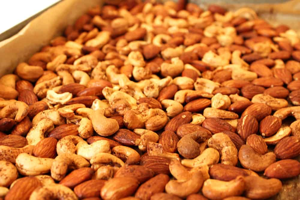 roasted nuts on baking tray small edit