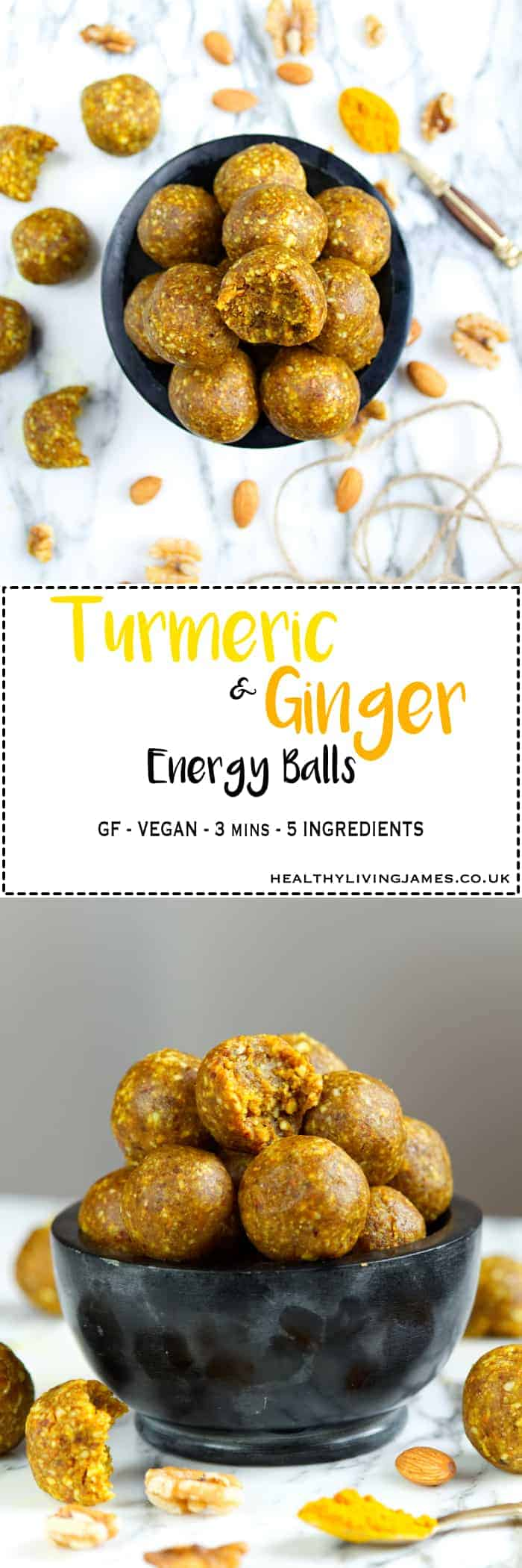 Turmeric & Ginger Energy Balls - Naturally gluten free, vegan and refined sugar free. The perfect quick, healthy and nutritious snack for on the go.
