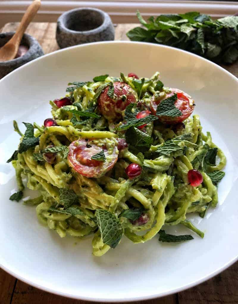 avo pesto courgetti salad front