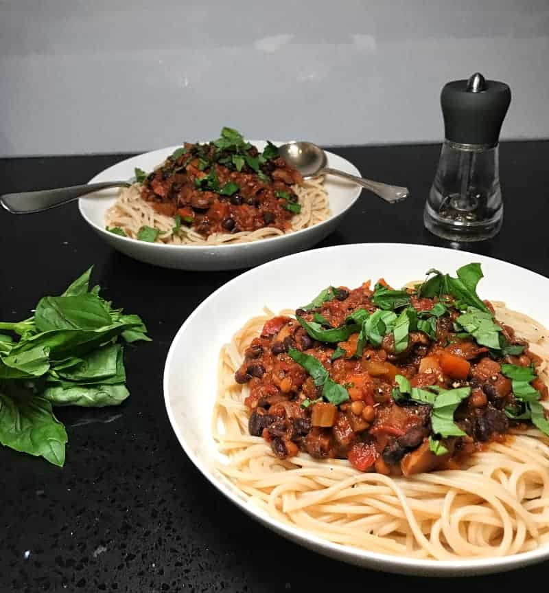 bolognese with brown rice spaghetti