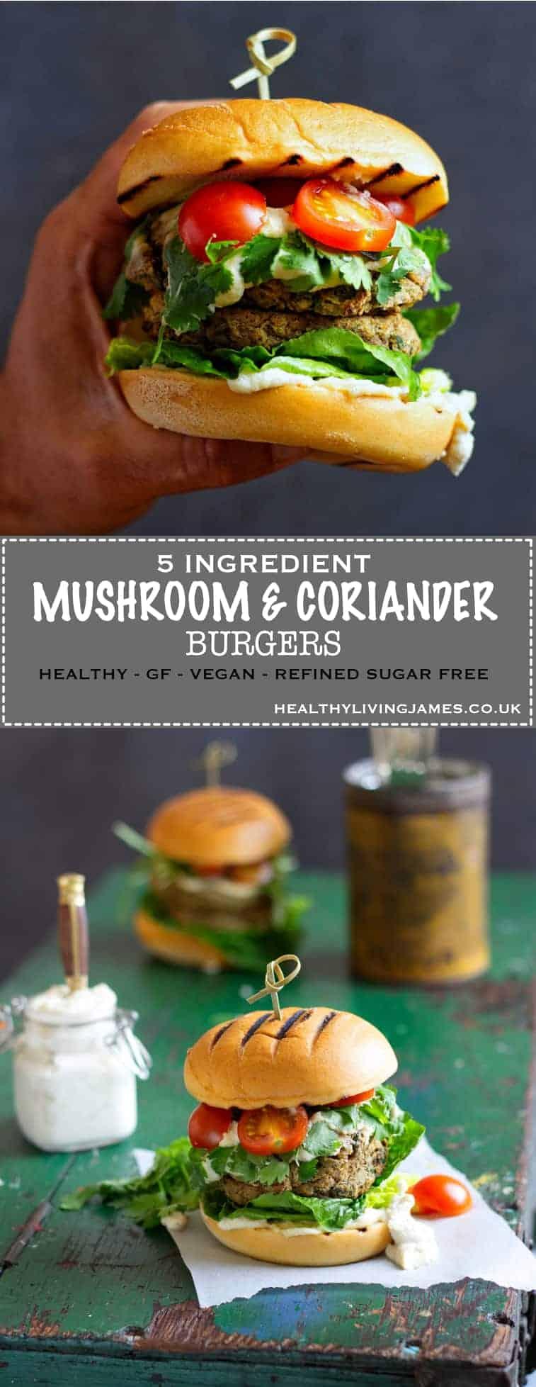 Mushroom & Coriander Burger Pinterest