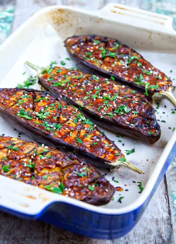 peanut butter roasted aubergines