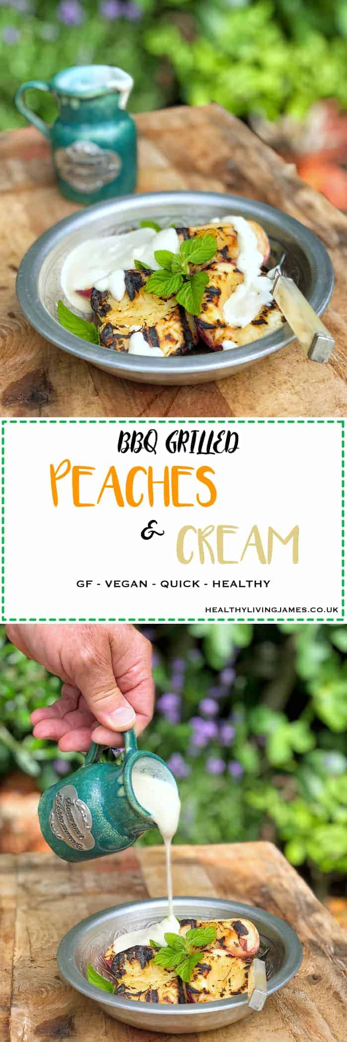 BBQ Grilled Peaches & Vanilla Cashew Cream
