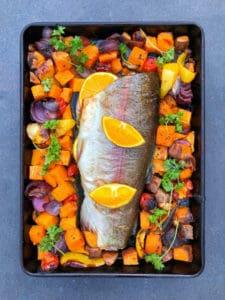 Orange Stuffed Trout & Med Veg