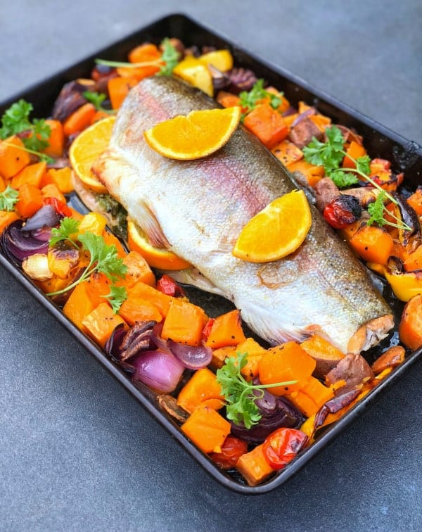 Orange Stuffed Trout & Med Veg
