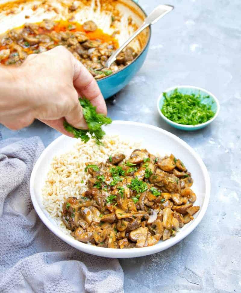 One Pot Vegan Mushroom Stroganoff Parsley Sprinkle