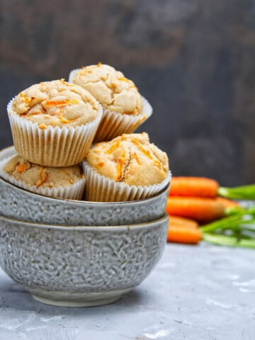 Carrot Cake Cupcakes stacked