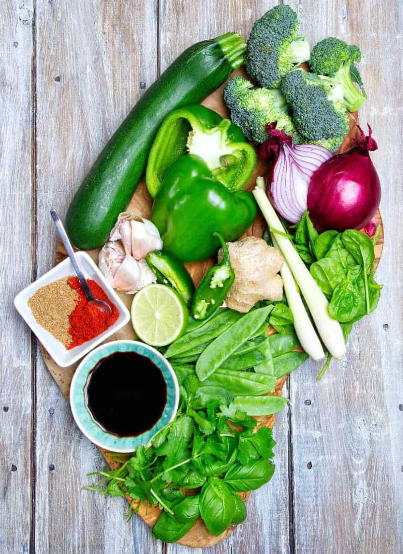 Veggie Thai Green Curry Ingredients