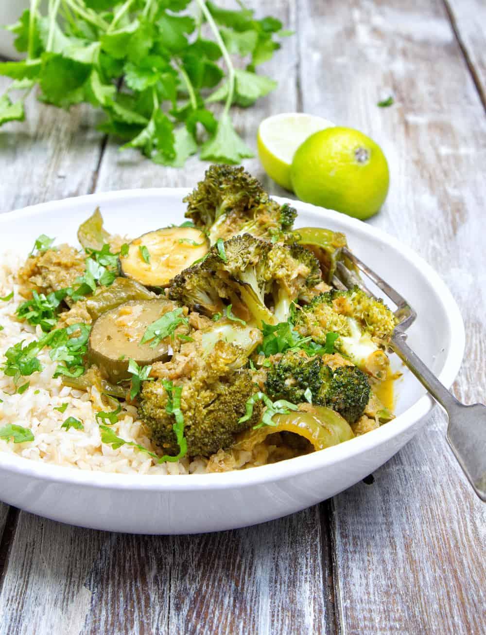 Veggie Thai Green Curry Closeup