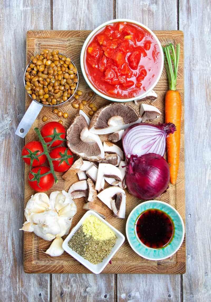 Speedy Lentil Bolognese Ingredients
