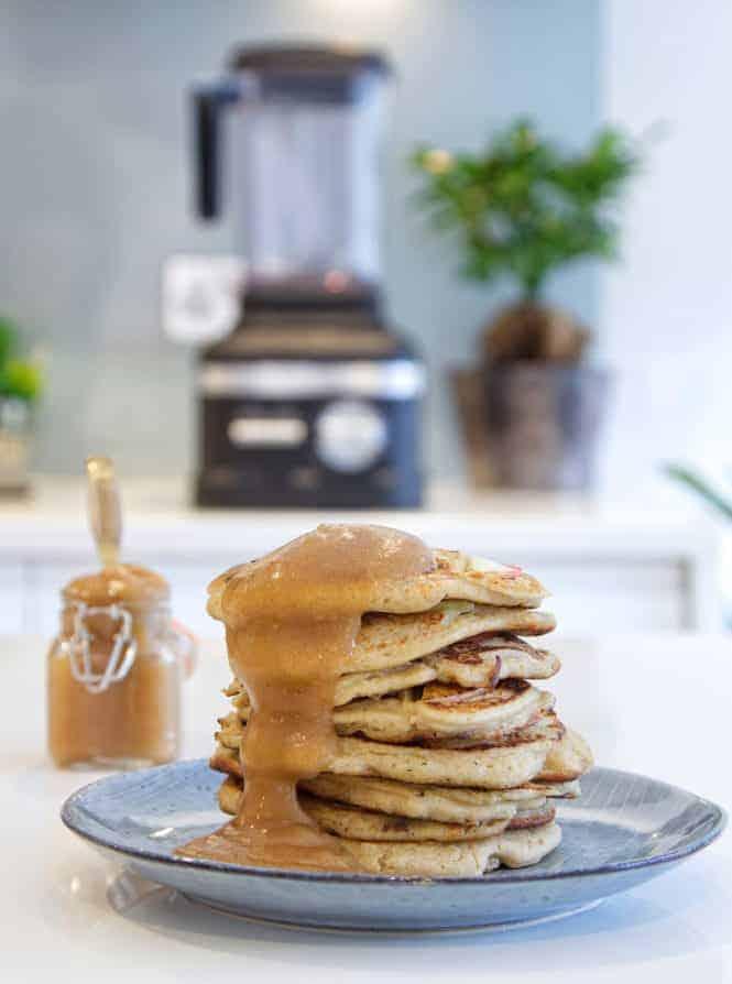 Autumn Applesauce Pancakes front + sauce