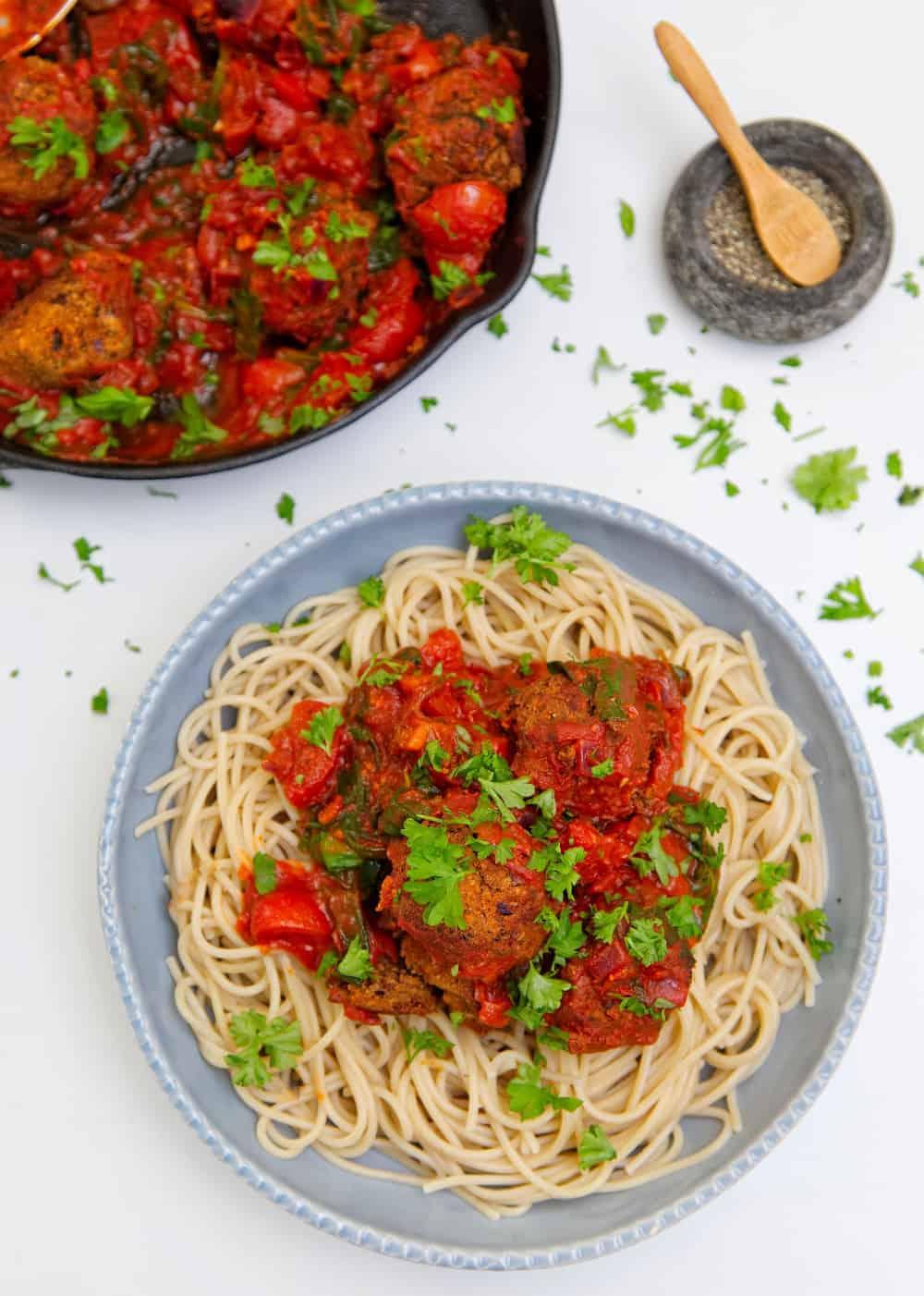 No-Meat Balls Overhead pasta
