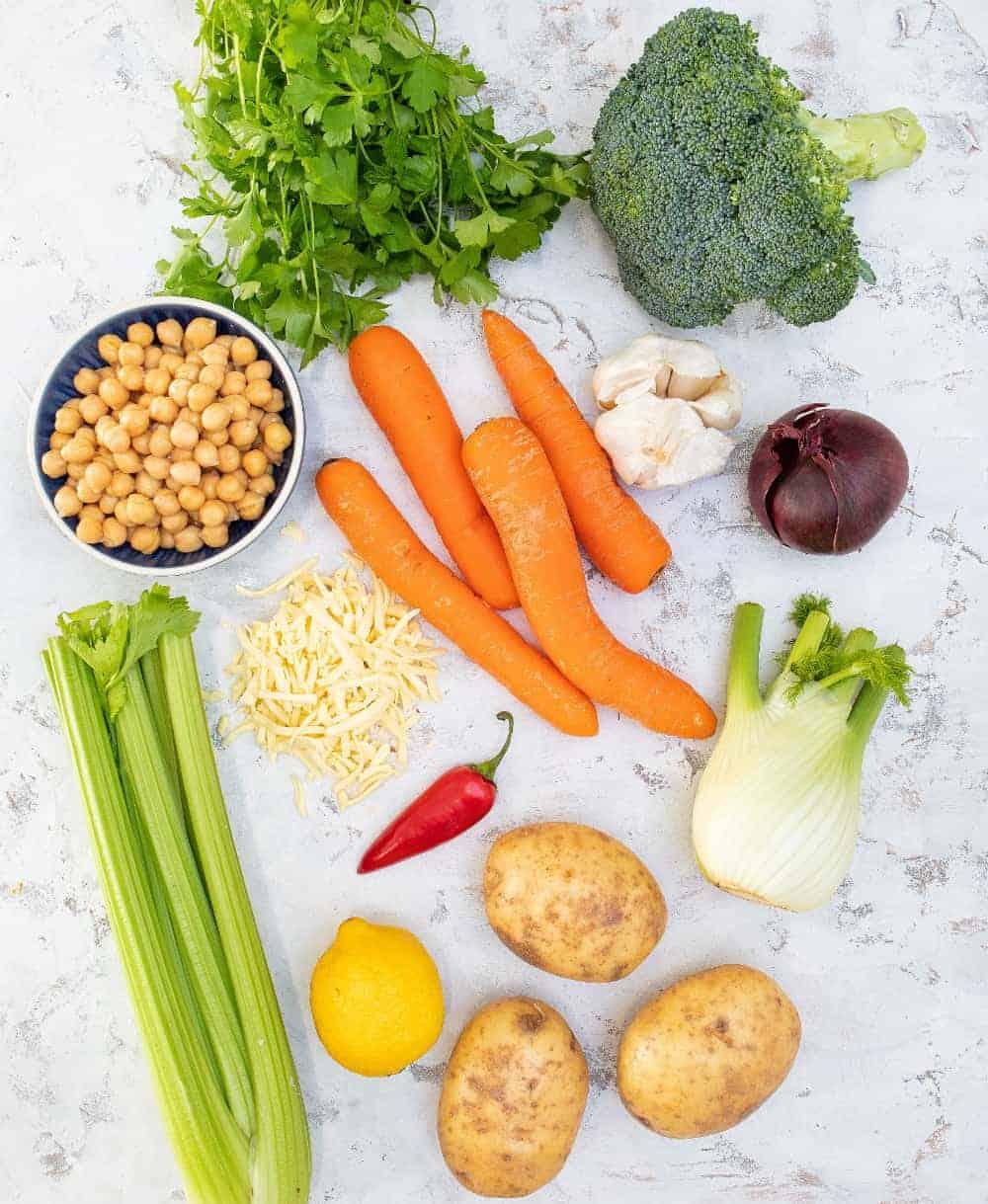 Zero Waste Veggie Pie Ingredients