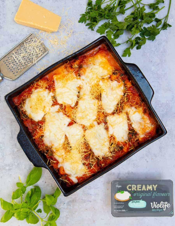 Cheesy Vegan Gnocchi Bake - Violife top