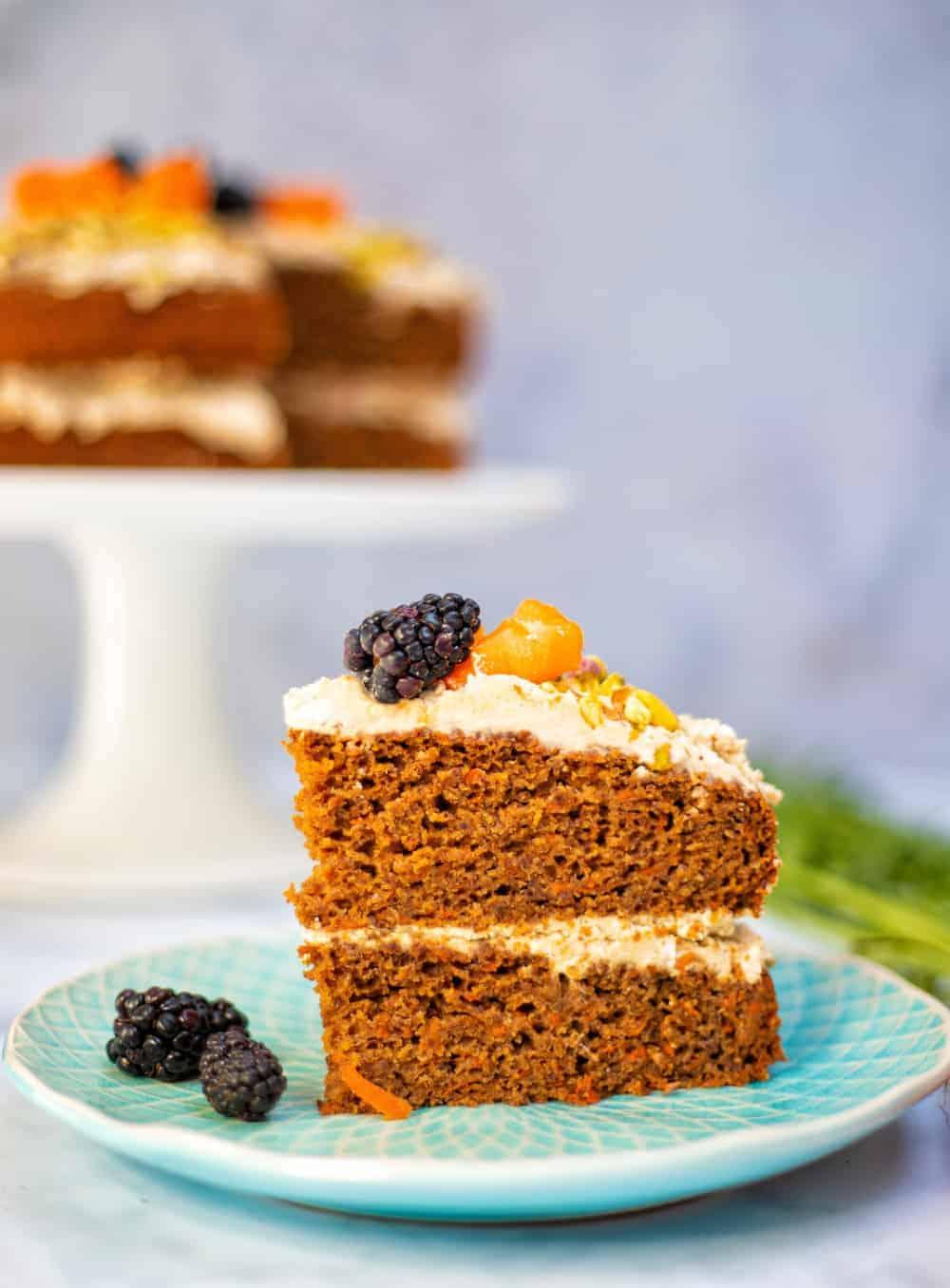 Gluten Free Vegan Carrot Cake - slice closeup