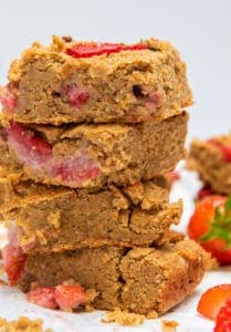 Peanut Butter Strawberry Blondies - Close up