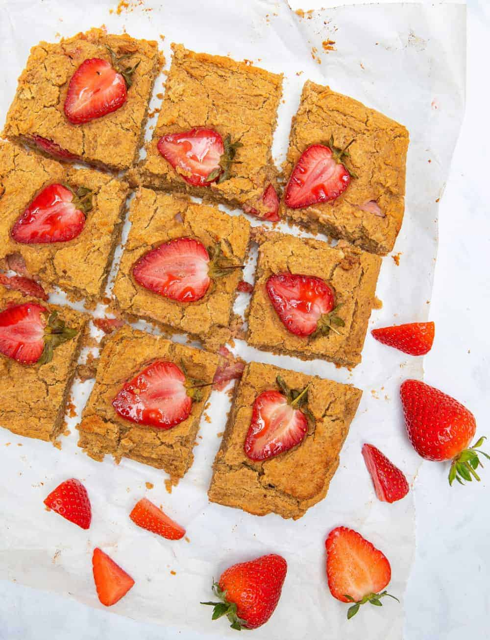 Peanut Butter Strawberry Blondies - sliced
