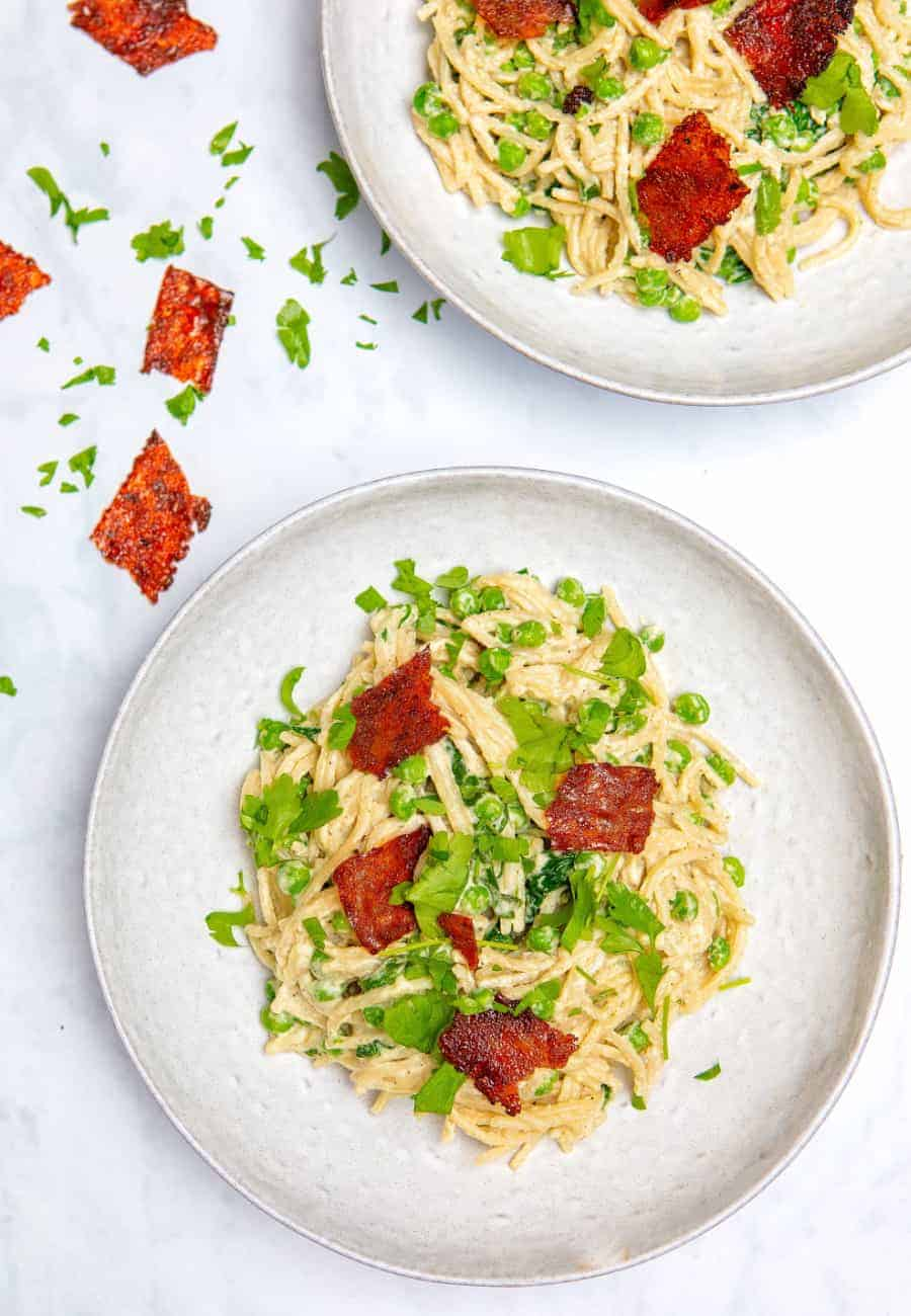 Vegan Carbonara with Bacon