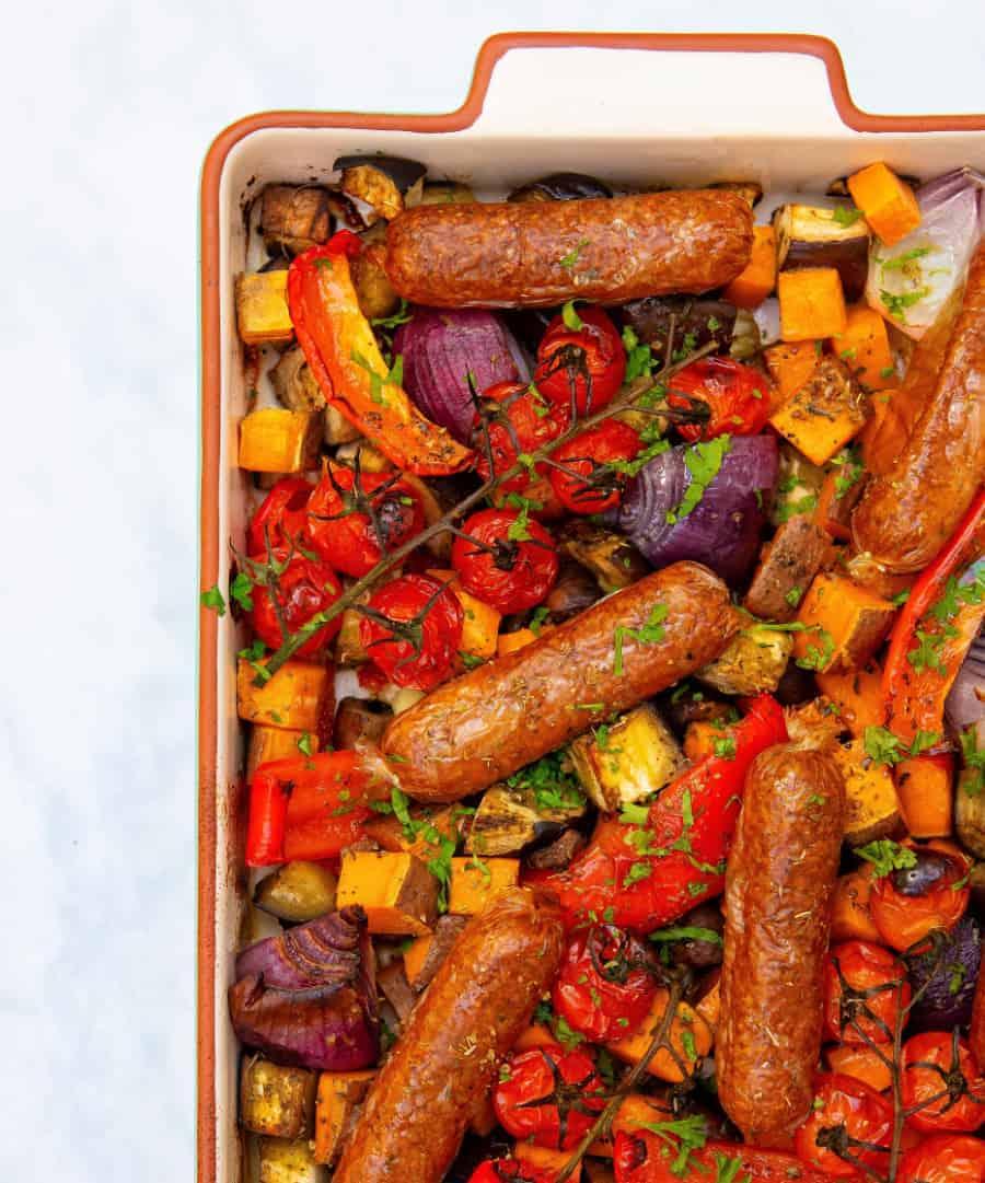Vegan Sausage Tray Bake - Branding