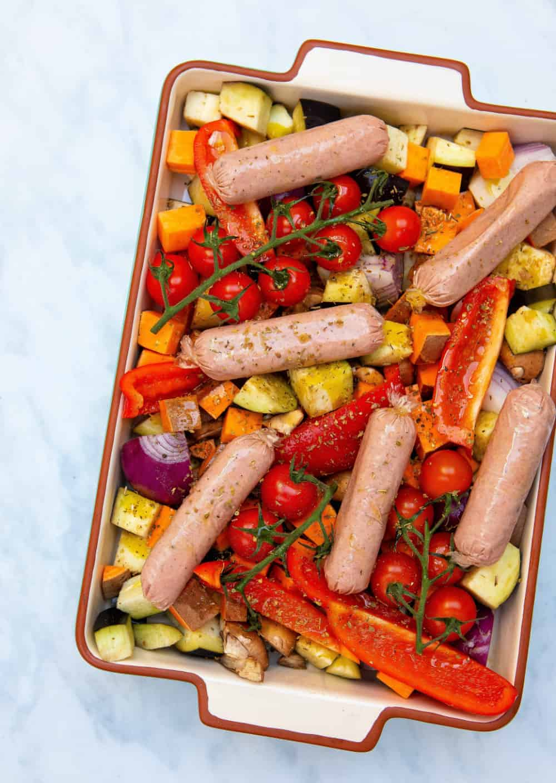 Vegan Sausage Tray Bake - Pre oven