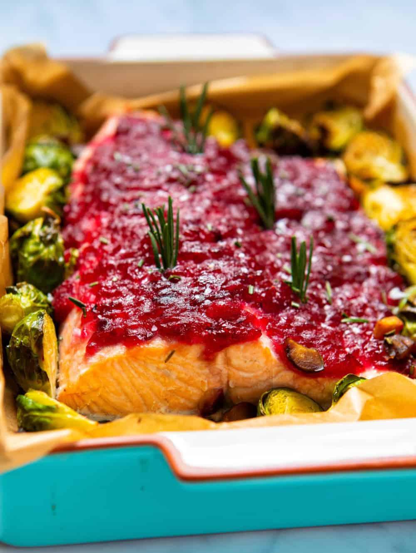 Cranberry Sauce Baked Salmon - Closeup