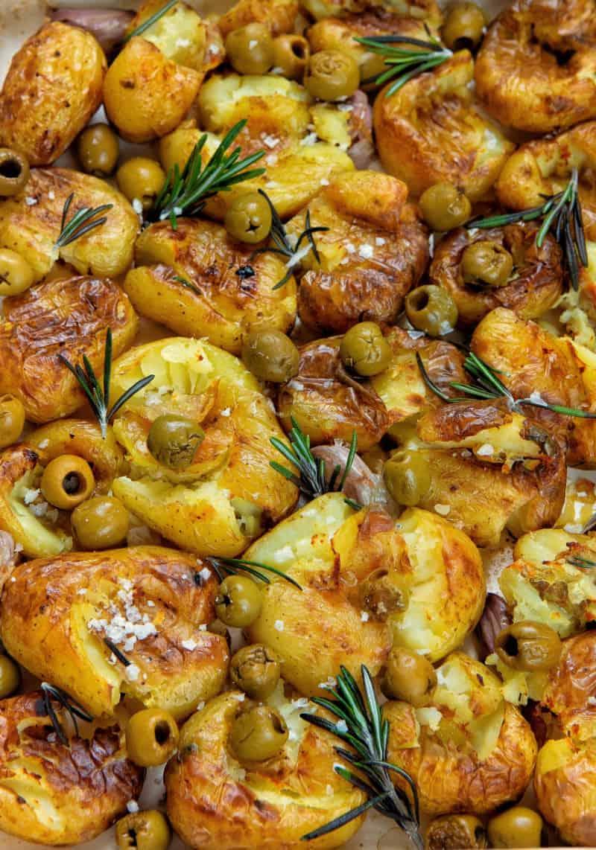 Smashed Olive Potatoes - Closeup