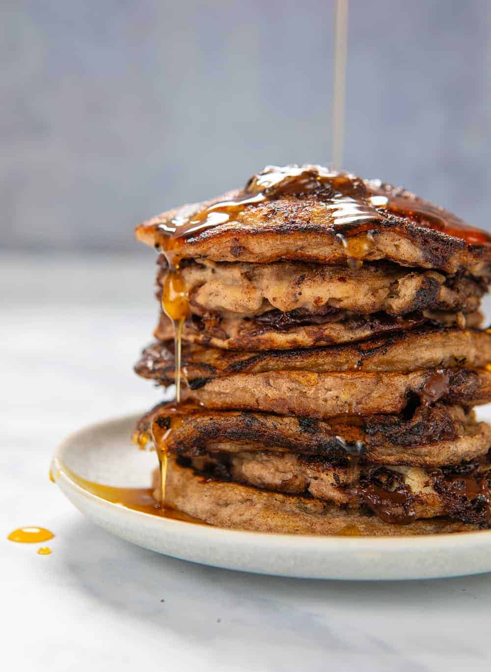 Banana Bread Pancakes - Front maple drizzle