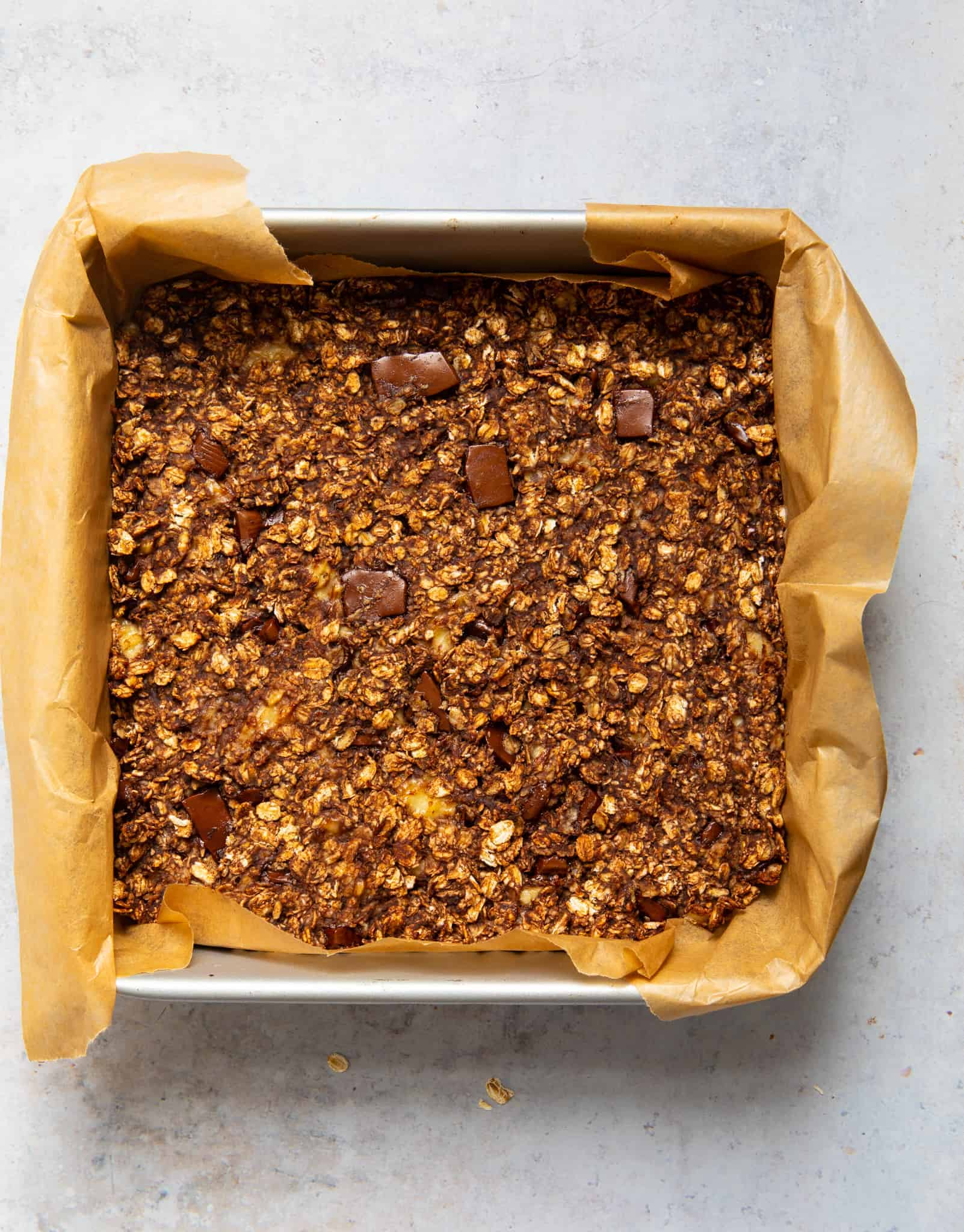 5 Ingredient Chocolate Flapjacks - baking tray