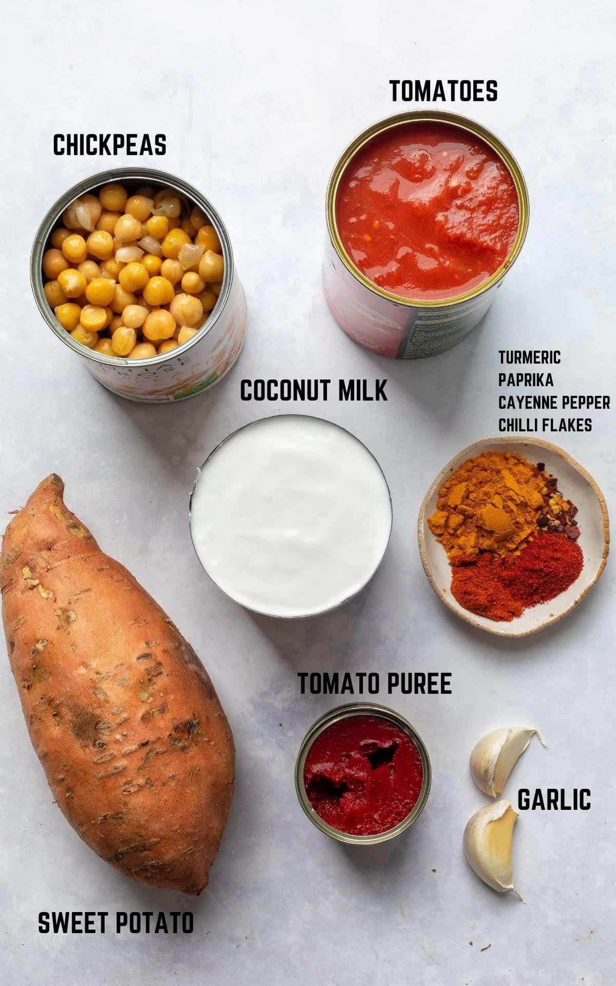 Sweet Potato Curry ingredients