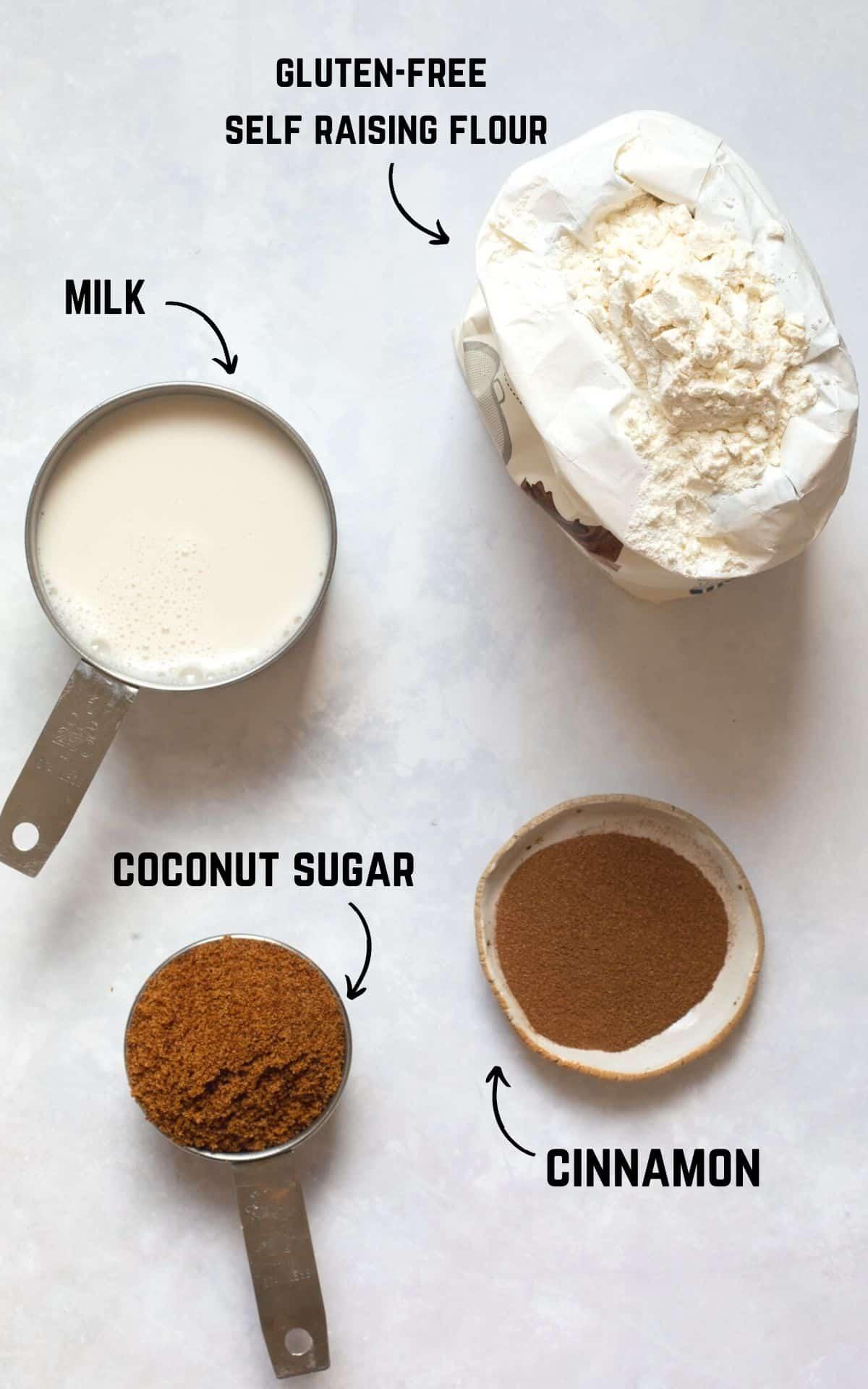 labelled 4 ingredients. Cinnamon, coconut sugar, milk and flour