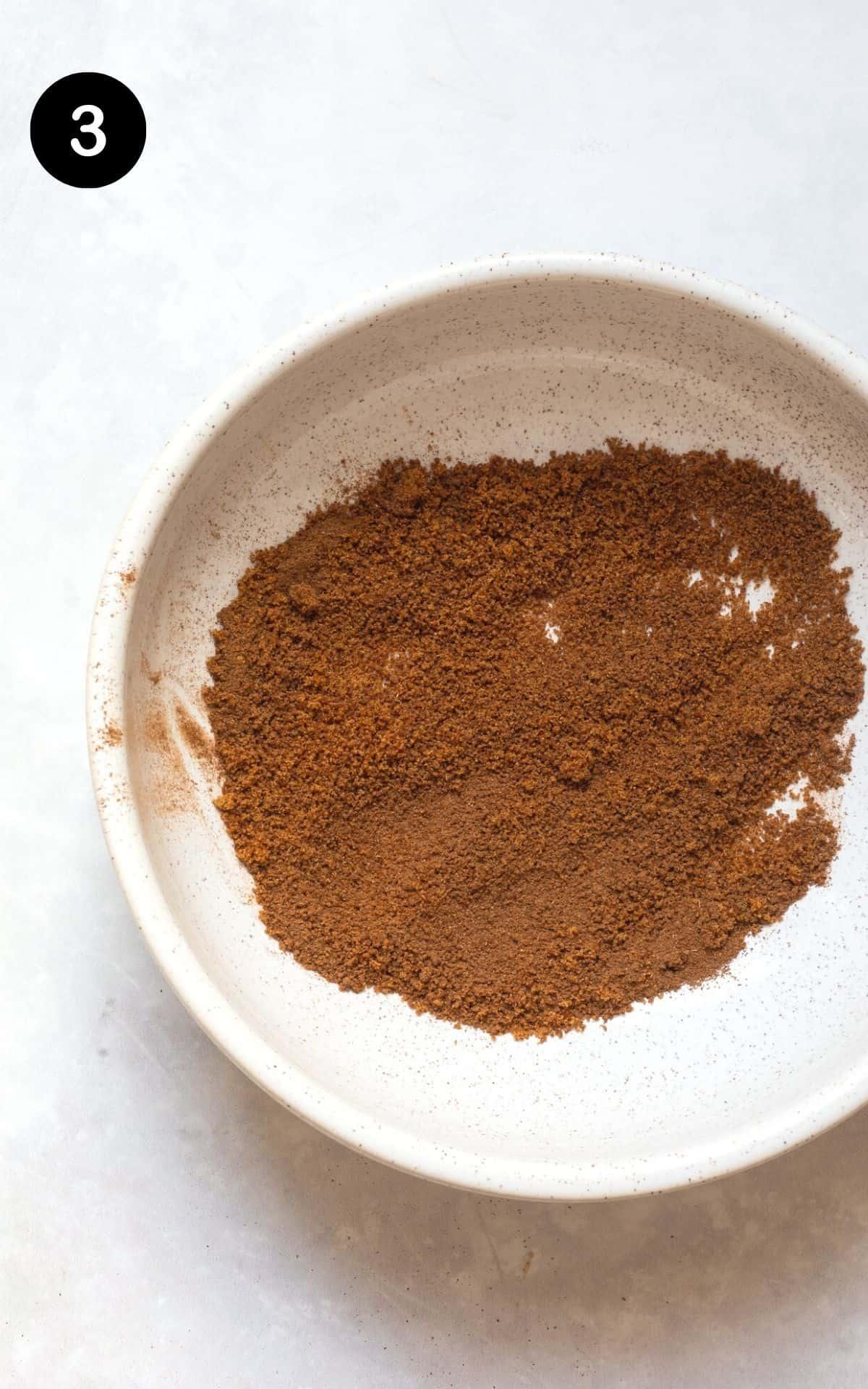 homemade cinnamon sugar in a white bowl