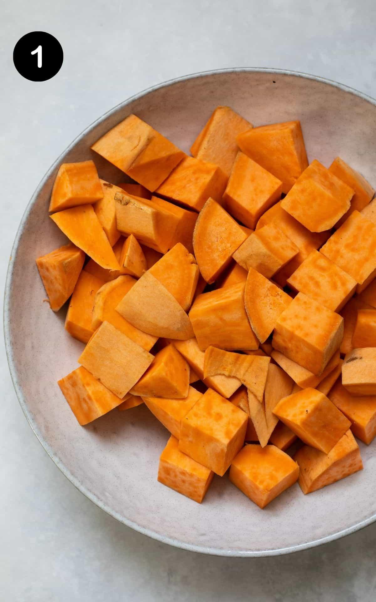 sweet potato peeled and chopped into cubes