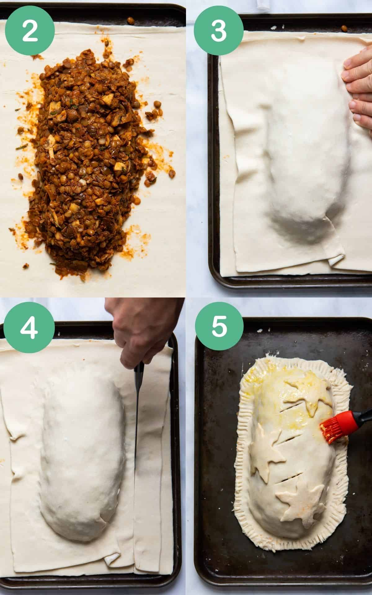 instructional step by step images of how to place the filling in a puff pastry and wrapped and prepared for baking.