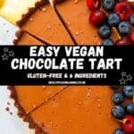 Easy Vegan Chocolate Tart Pinterest image