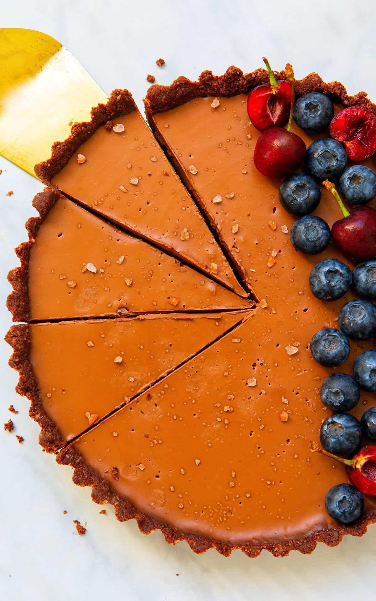 Overhead image of a vegan tart.