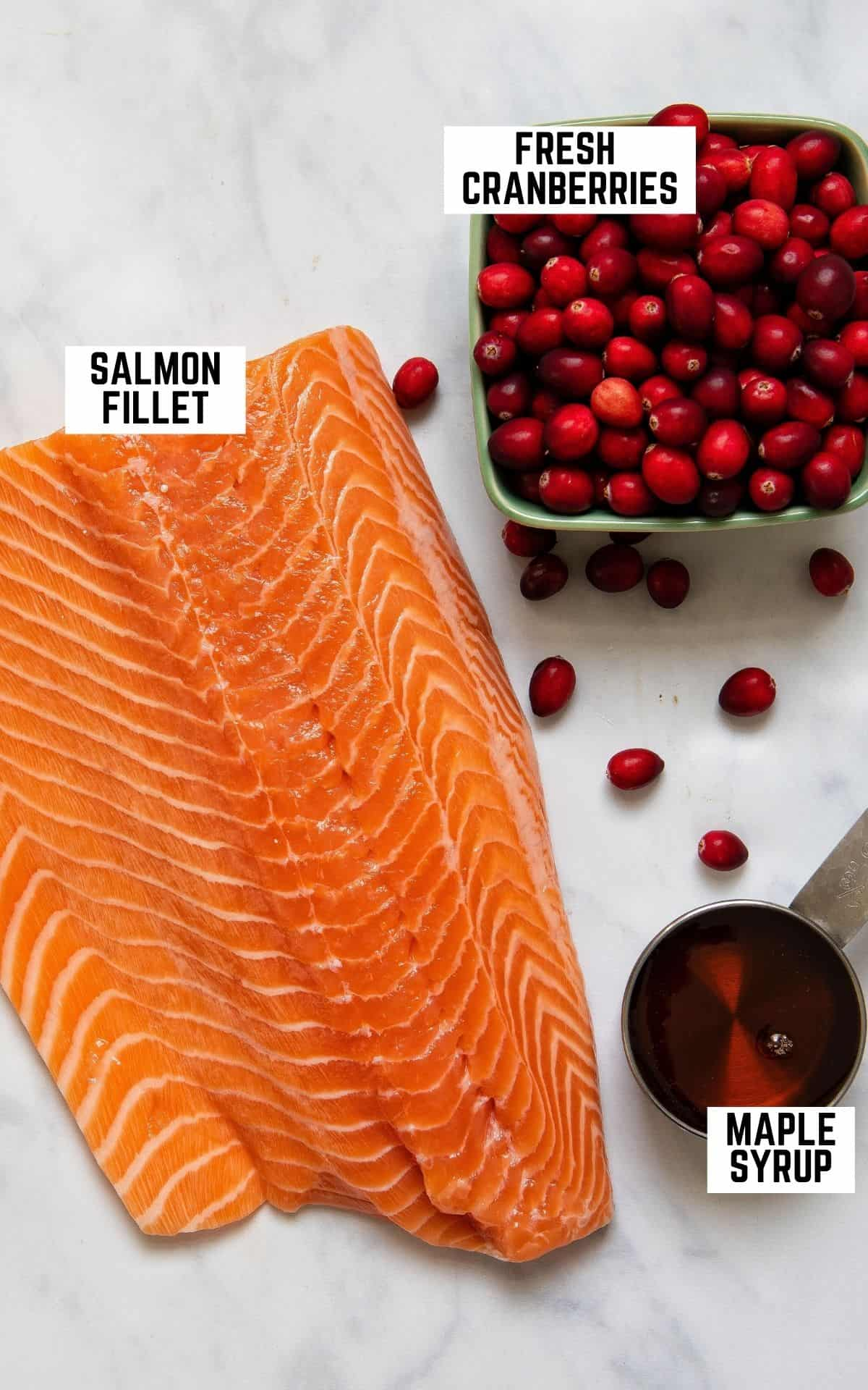 Overhead image of ingredients for the recipe: salmon, cranberries, and maple syrup.