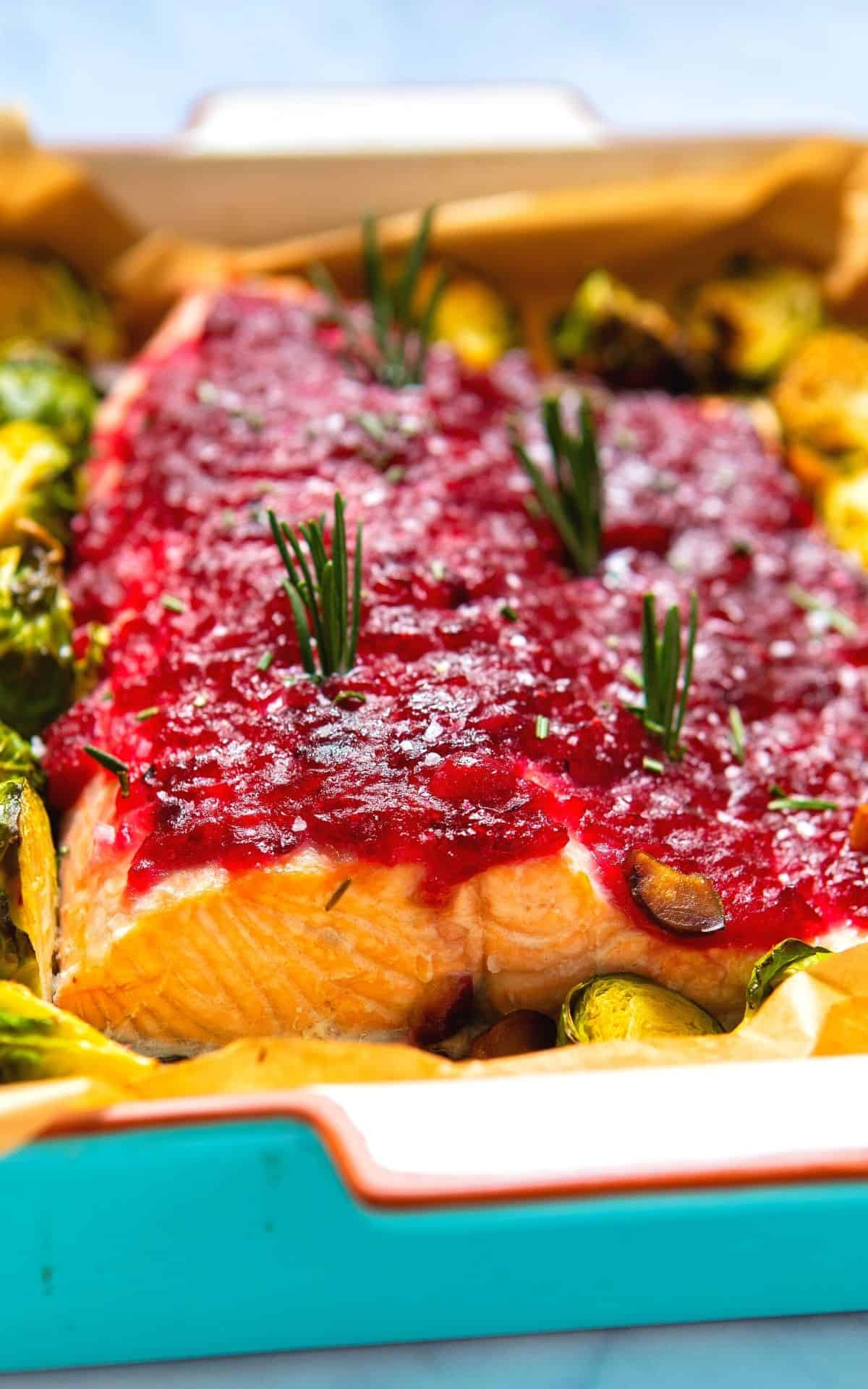 Close up of a salmon baked with cranberry sauce.