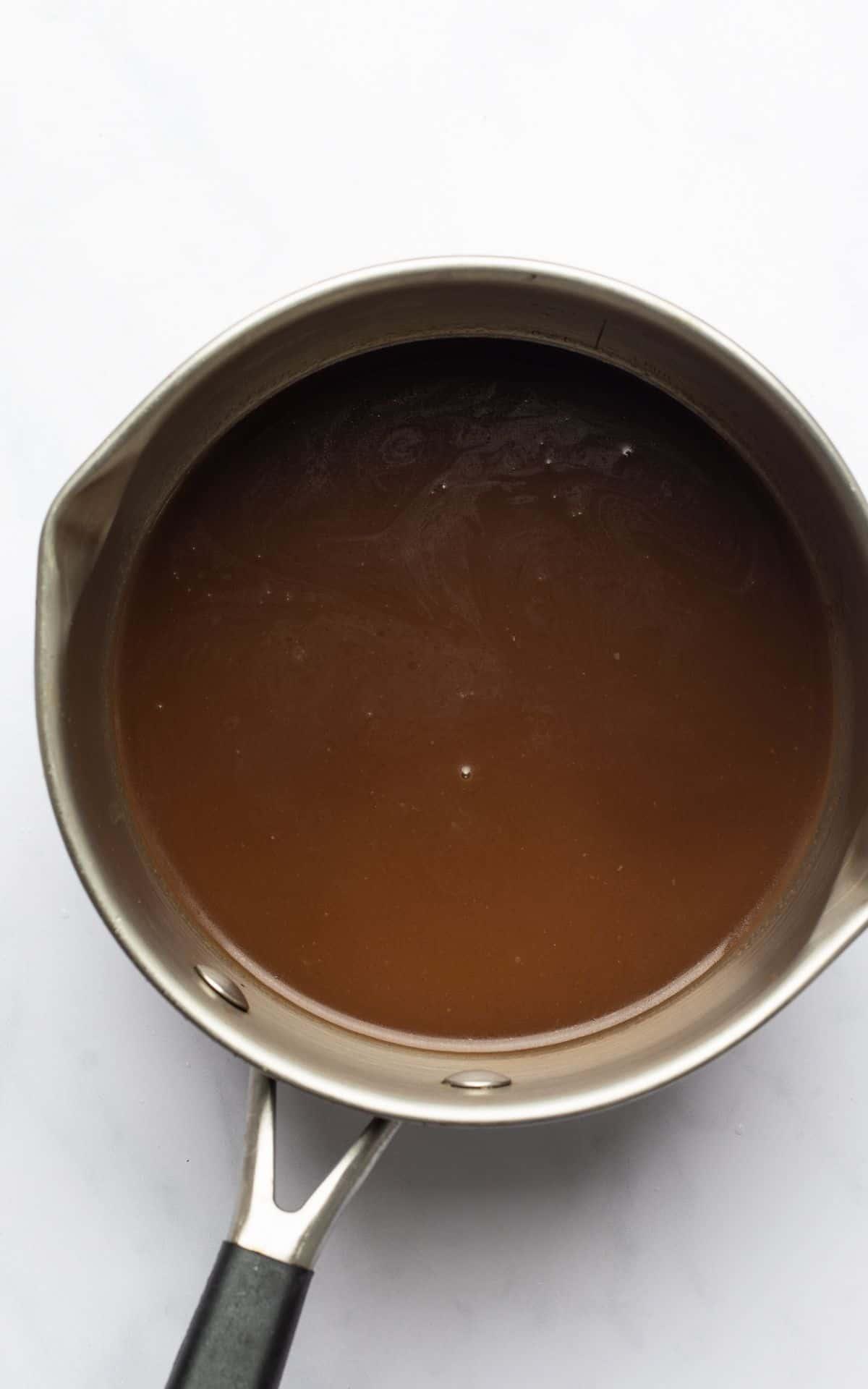 pot of homemade mushroom gravy